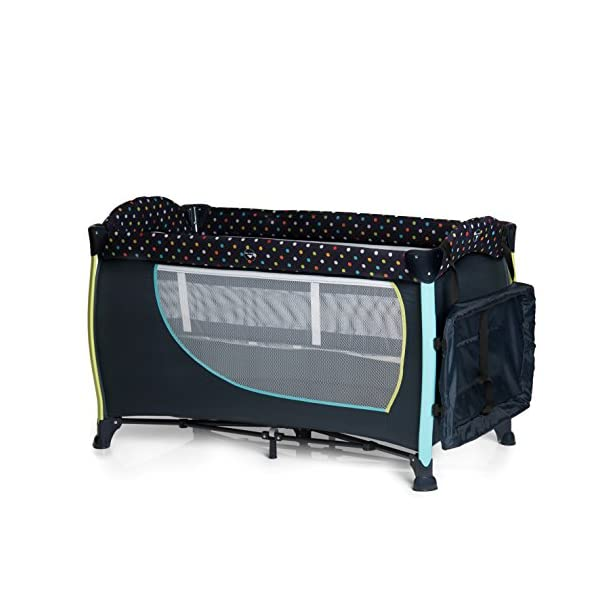 Hauck Sleep N Play Centre II, 7-part Folding Travel Cot from Birth to 15 kg, Bassinet and Changing Top, Folding Mattress and Wheels, Side Opening, Toy Bag, 120 x 60 cm, Multi Dots Navy Hauck Suitable from birth Includes fold up mattress (60 x 120cm) Folds away into its own carry bag 2