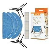 ILIFE original Zubehör-Set für V5s Pro Saugroboter | Wischroboter Ersatzteile | 10-teilig - Filter, Mikrofasertücher und Seitenbürsten