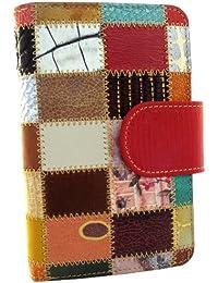 Hecho en España. Cartera de mujer elaborada artesanalmente con piel de alta calidad. Varios tonos disponibles. Diseño Patchwork