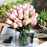 Wohnaccessoires & Deko Kunstblumen 5pcs Tulpe künstliche Blume Latex Real Touch Bridal Wedding Bouquet Home Decor Blume Sunday (Rosa)