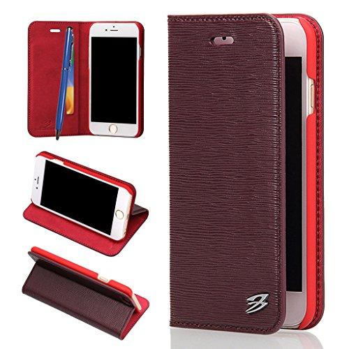 iPhone 6S Plus/6 Plus Echtem Leder Hülle,Careynoce Luxus Handgefertigt Echtem Leder Brieftasche Magnetischen Flip Schutzhülle für Apple iPhone 6S Plus iPhone 6 Plus(5.5 Zoll) -- Klassisches geprägtes  M06