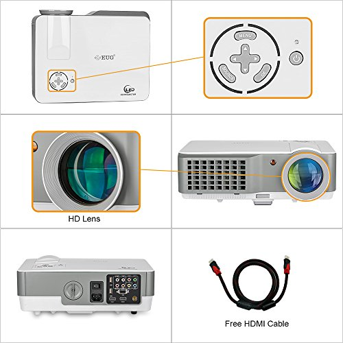 Cheapest Price for HD LCD Video Projector HDMI LED Portable 2500 Lumen 1080p Support Home Cinema Theater Movie Projectors Computer Xbox Wii Laptop DVD Player, Built-in Speakers Discount