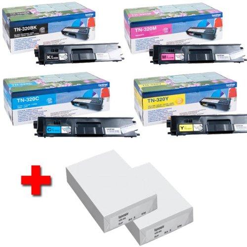 Brother–Cartucho original 1pieza TN320BK, TN320C, TN320M y TN320Y (Incluye 2paquetes de papel A4de 80g)
