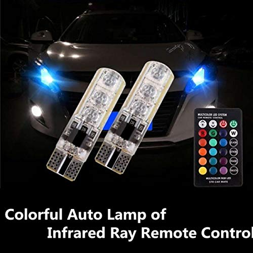 AutoTrends T10 6 SMD RGB LED Car Reading Light Lamp Bulb with Remote Silicon Coated -2 pcs