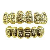 Rivestimenti placcati in oro 14 K per denti frontali superiori e inferiori, con diamanti sintetici, con incluse 2 barre malleabili per la modellatura extra