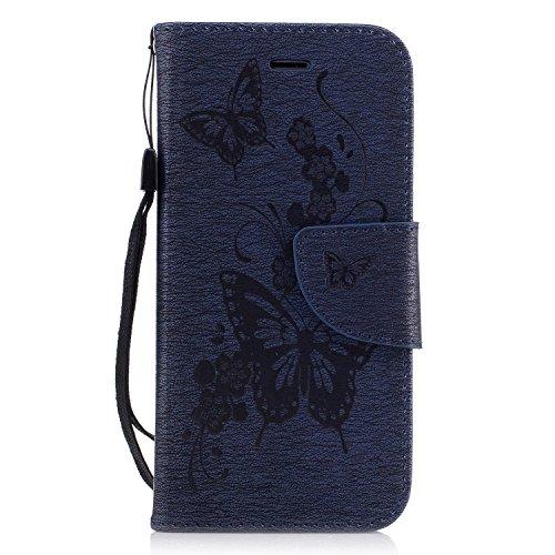 iPhone 7 4,7 Coque, Voguecase Étui en cuir synthétique chic avec fonction support pratique pour Apple iPhone 7 4,7 (Big papillon II-Gris)de Gratuit stylet l'écran aléatoire universelle Big papillon II-Bleu foncé