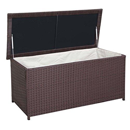 Mendler Poly-Rattan Kissenbox HWC-D43, Truhe Auflagenbox Gartentruhe, 63x135x52cm 290l ~ braun