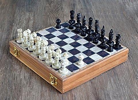 Weihnachtsgeschenke, Store Indya, Exclusive Schach Set Klassisch Spiel Marmor Schachbrett mit Staunton Stuck und Holzlager Samtinnenraum