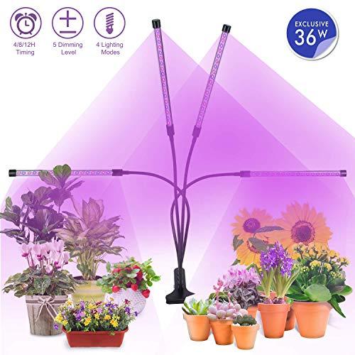 Lámpara de Plantas, MiMiya 72 LED Luz de la Planta Iluminación 36W Espectro Completo Crece Lluminación...