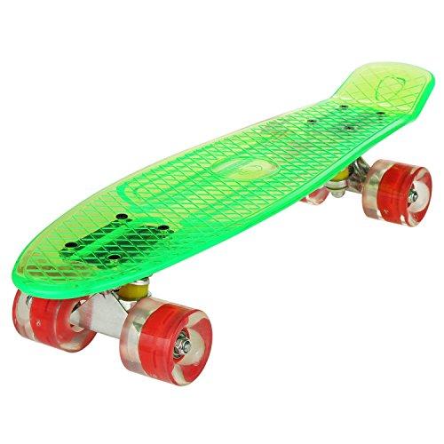 ZOKEO Cruiser Skateboard 57 x 15cm Komplettes Deck Mini Kunststoff Skate Board mit LED Leuchtrollen Komplettboard (Jungen Skateboard Deck)
