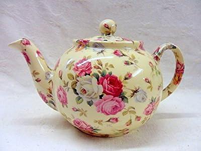 Théière 2tasses, design panier de rose par Heron Cross Pottery.