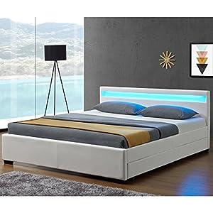 Juskys LED Polsterbett Lyon mit Bettkasten 140 x 200 cm - Bettgestell mit Lattenrost - Kunstleder - weiß - Einzelbett Jugendzimmer Möbel