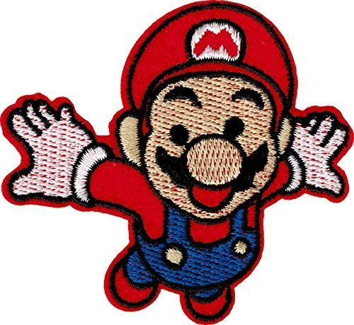 Super Mario Patch Embroidered Iron on Badge Aufnäher Kostüm Cosplay Mario Kart/SNES/Mario World/Super Mario Brothers/Mario Allstars