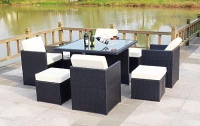 Poly Rattan Sitzmöbel Set Tisch Sessel Hocker 21teilig Kuntsstoff Outdoor Garten schwarz
