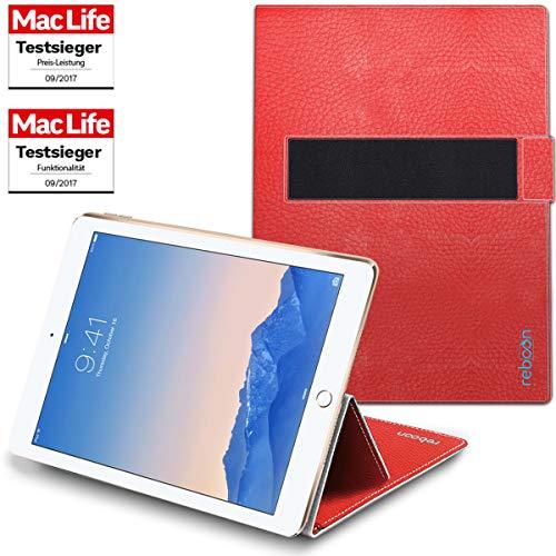 reboon Hülle für Apple iPad Air 2 Tasche Cover Case Bumper | in Rot Leder | Testsieger (Smart Ipad Rot Case 2 Apple)