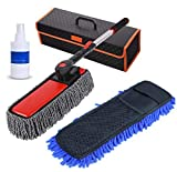 Techtest Microfiber Microfiber Car Duster Exterior Interior Cleaner Cleaning Kit with Long Retractable