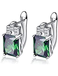 2.15 ctw Genuine Emerald 5x7mm Octagon & Solid .925 Sterling Silver Stud Earrings for Women and Girls