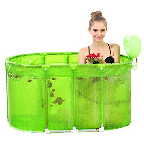 Li jing home Faltwannen/aufblasbare Badewannen große Whirlpool-Badewanne Home-Erwachsenen-Wanne eleganter Edelstahl-Klappeimer Edelstahlhalterung (Color : Green)