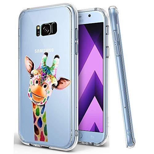 KeKeYM Samsung Galaxy S9 2018 Handyhülle, Ultradünner Silikon Rückenprotektor, Weiche Haut Kristallklares Gel Stoßfester, Schlanker Transparenter Schutz - Bunte Giraffe