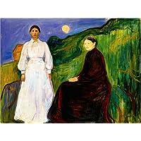 POSTERLOUNGE Cuadro sobre lienzo 80 x 60 cm: mother and daughter de Edvard Munch - cuadro terminado, cuadro sobre bastidor, lámina terminada sobre lienzo auténtico, impresión en lienzo