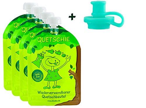 ❤ divata Quetschies/Quetschbeutel, 170ml (4er Pack + Pouch Top) - BPA-frei, wiederverwendbar, zum selbst befüllen   inkl. weichen Aufsatz