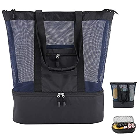 Mesh Beach Tote Bag 2 in 1 with Insulated Picnic