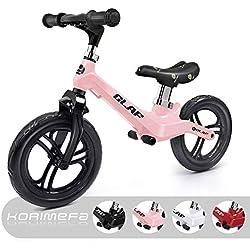 KORIMEFA Draisienne Vélo pour Enfants 12 Pouces Vélo sans Pédale Hauteur Réglable en Alliage de Magnésium Léger Draisienne Évolutive pour Filles Garçons Agés de 1,5 à 5 Ans (Rose)