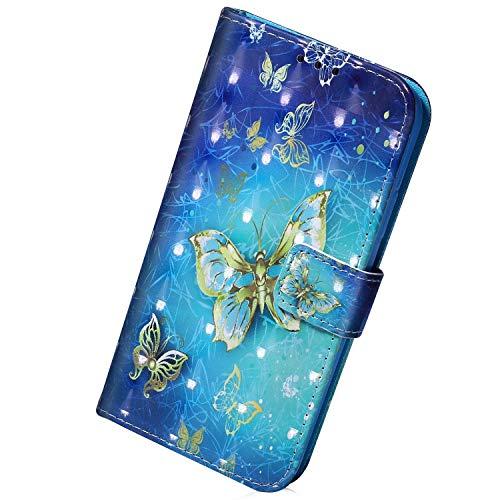 Herbests Kompatibel mit iPhone 11 Pro Max Handy Hülle Lederhülle Handytasche Bling 3D Bunt Glitzer Muster Flip Case Cover Leder Tasche Bookstyle Wallet Klapphülle,Gold Schmetterling