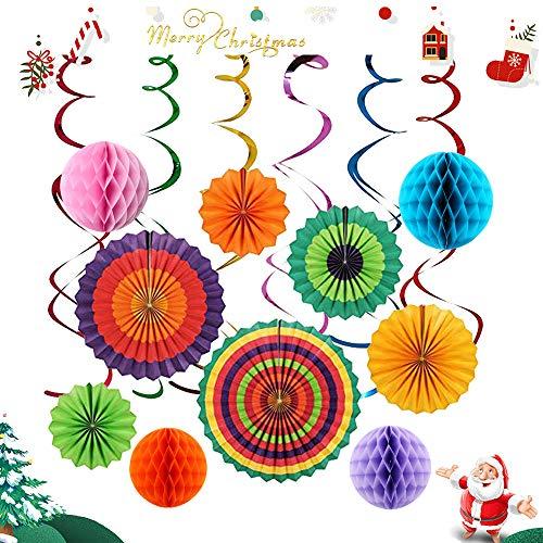 IMMEK 16 Pcs Party-Dekoration,Mexikanische Fiesta zum Aufhängen Papier Fans Colorful rund Rad Disc Laterne Dekoration für Party Hochzeit Geburtstag Festival Weihnachten Event und Home Decor