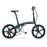 Vélo pliant 20 pouces en alliage d'aluminium ultra-léger petite roue 7 vitesses frein à disque vélo ( Couleur : Black blue )