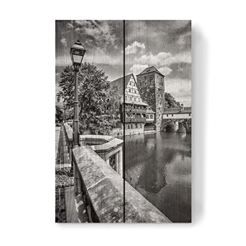 artboxONE Holzbild 30x20 cm NÜRNBERG Blick von der Maxbrücke zum Henkersteg | Monochrom von Melanie Viola