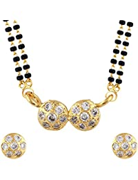 Parijaat Gold Plated Jewellery American Diamond Traditional Mangalsutra Pendant With Chain And Earrings For Women