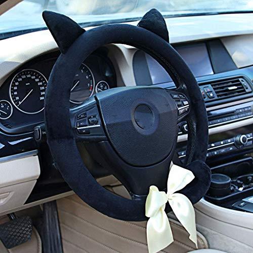 Auto Lenkrad Abdeckung Vier Jahreszeiten Universal Niedlichen Cartoon Rutschfeste Winter Warme Kurze Plüsch (Farbe : Black cat Ear)