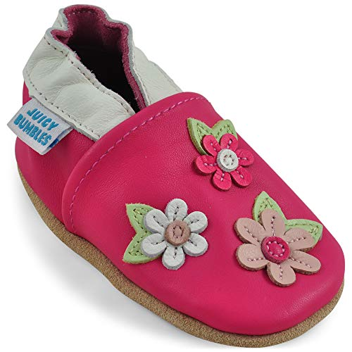 Scarpe bambina - scarpe neonata in morbida pelle - scarpine neonato primi passi - ciliegio rosa - 6-12 mesi