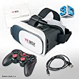 VR Brille 3D Virtual Reality Box Glasses Headset + Bluetooth Gamepad Controller 3D-Spiel Brille für 3.5-6.2 Zoll-Smartphones IOS Android Handys