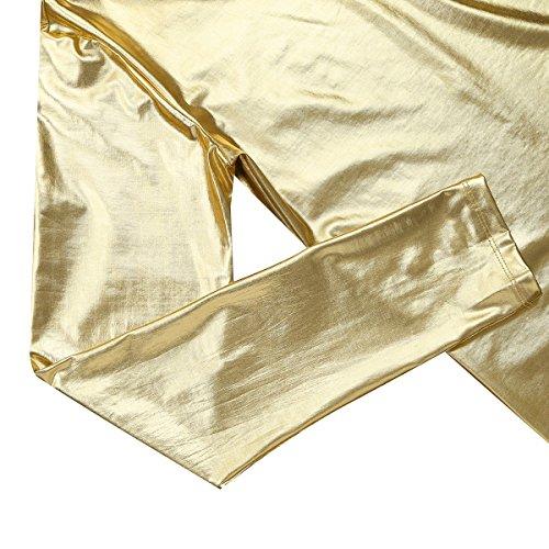 YiZYiF Männer Muskel Shirt Wetlook Herren Reizwäsche Langarm / Kurzarm T-Shirt Tights Unterhemd Fitness Slim Gold