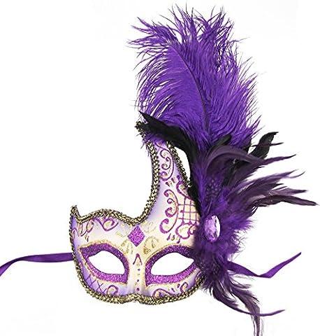Maskerade-Masken-Spitze-Rand mit Rhinestone-Federn-Partei-Schablone (Griechischen Frau Kostüm)