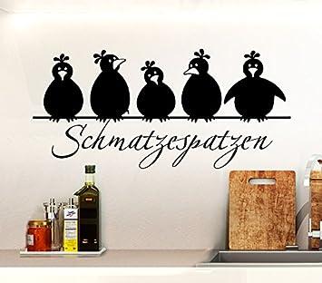 Wandtattoo Günstig G055 Spruch Schmatzespatzen + 5 Vögel Wandaufkleber Wandsticker  Küche Schwarz (BxH) 30 X 14 Cm: Amazon.de: Küche U0026 Haushalt