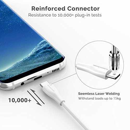 UNBREAKcable USB 3.0 Type C Cable - 3.3ft High Speed USB C Charger Cable Compatible with Samsung Galaxy S10/S9/S8 Note 9/8, Huawei Mate 20/10 P20/P10, Google pixel, Nexus 6P - White Img 2 Zoom