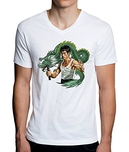 Bruce Lee With Dragon Design Men's V-Neck T-Shirt Large