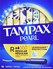 Tampax Pearl Regular Plastic Tampons, Unscented, 18 Count