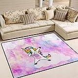 JSTEL Ingbags Super Doux Moderne Licorne Rose Zone Tapis Tapis de Salon Chambre à Coucher Tapis pour Enfants Jouer Solide Home Decorator Sol Tapis et moquettes 160x 121,9cm