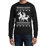 Rehntier Dreier Weihnachts Reindeer Langarm Männer T-Shirt XX-Large Schwarz
