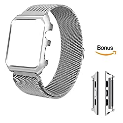 [Changeable] Apple Watch Series 3 Strap 42mm Milanese Stainless Steel With Protective Case Apple Watch Strap 42mm With Upgraded Apple Watch Adapter For All 42mm Apple Watch Series 3 & Series 2 & Series 1 Version - Silver 42