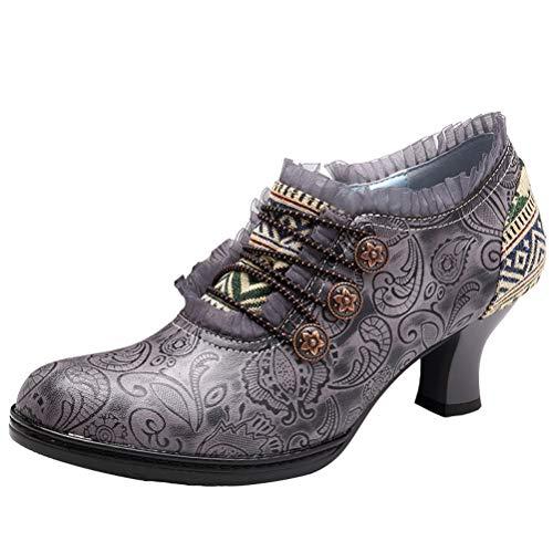Mallimoda Damen Stiefel mit Absatz Weinlese Handgemachte Spitze Blumen Patchwork Knöchel Lederstiefel Grau EU 38=Asian 39