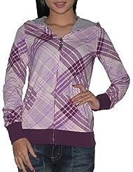 DC Damen Surf & Skate REVERSIBEL HOODIE Sweatshirt-Jacke XS Lila & blau