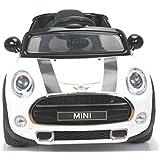 MINI COOPER S, producto BAJO LICENCIA, con mando a distancia 2.4Ghz, Blanco, asiento de cuero