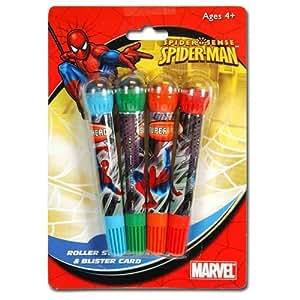 Spider-Man Stylo avec Rouleau de Tampons - Marvel Stylo (4 pièces)