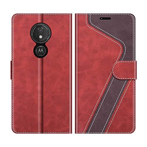MOBESV Handyhülle für Motorola Moto G7 Power Hülle Leder, Motorola Moto G7 Power Klapphülle Handytasche Case für Motorola Moto G7 Power Handy Hüllen, Modisch Rot