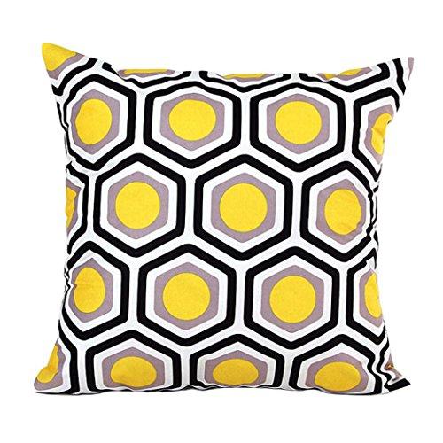 Internet Géométrique Modèle canapé lit Home Café Decor taie d'oreiller Carré housse de coussin Tissu de coton Invisible fermeture à glissière 45cm*45cm (Jaune)